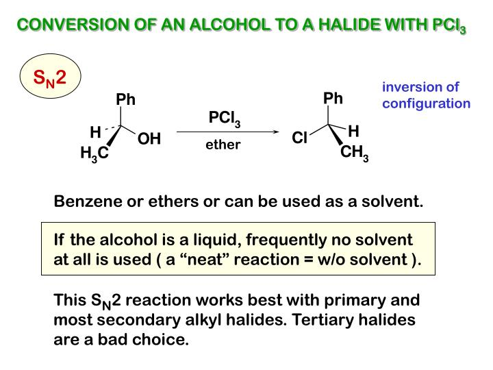 CONVERSION OF AN ALCOHOL TO A HALIDE WITH PCl