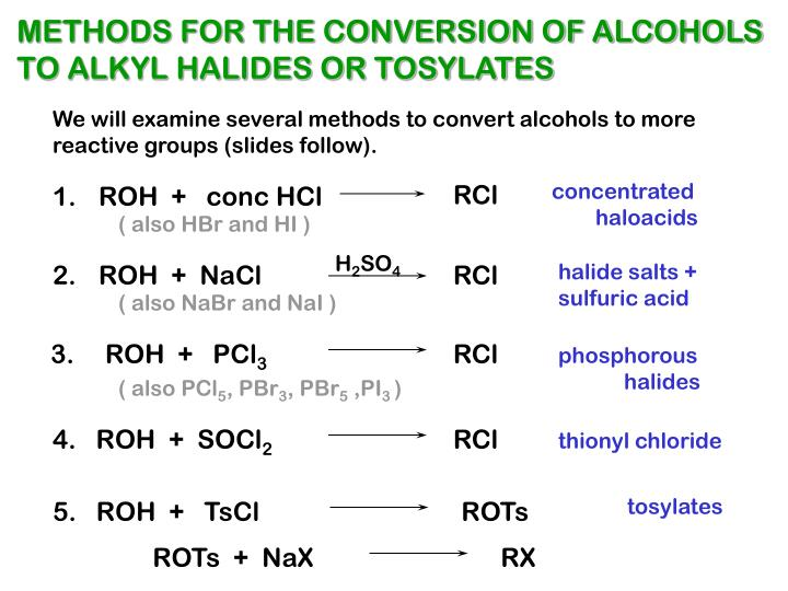 METHODS FOR THE CONVERSION OF ALCOHOLS