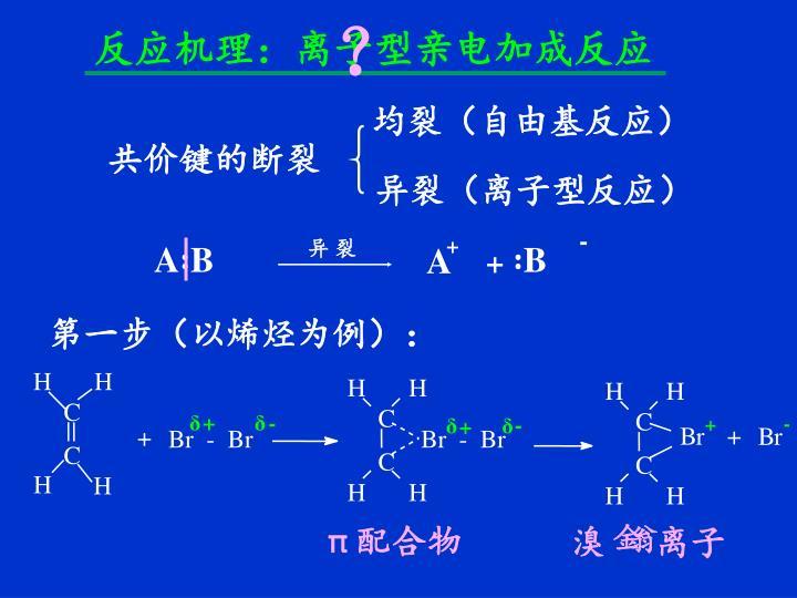 反应机理:离子型亲电加成反应