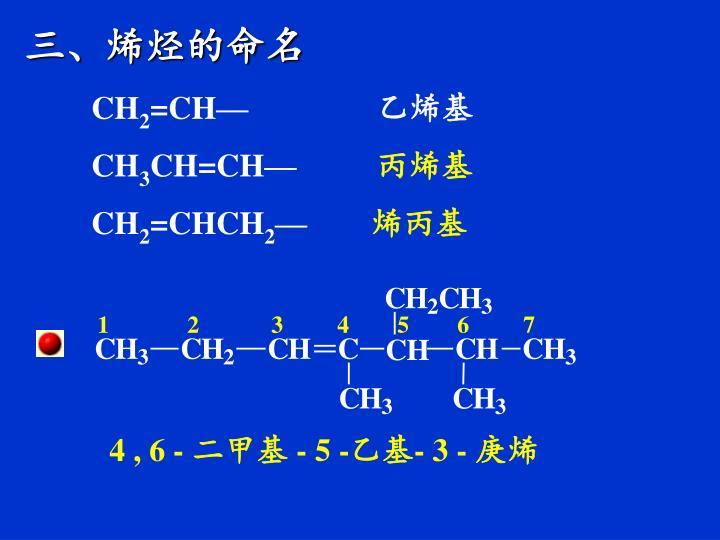 三、烯烃的命名