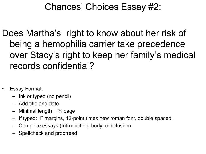 Chances' Choices Essay #2: