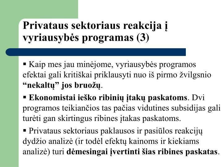 Privataus sektoriaus reakcija į vyriausybės programas