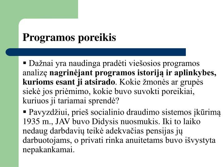 Programos poreikis