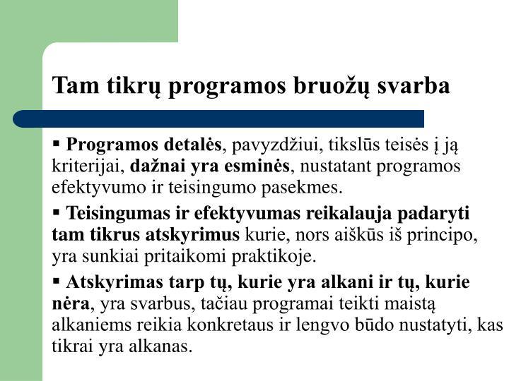 Tam tikrų programos bruožų svarba