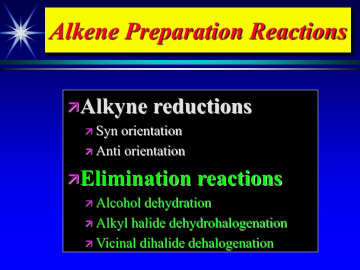 Alkene preparation reactions