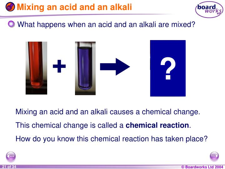 Mixing an acid and an alkali