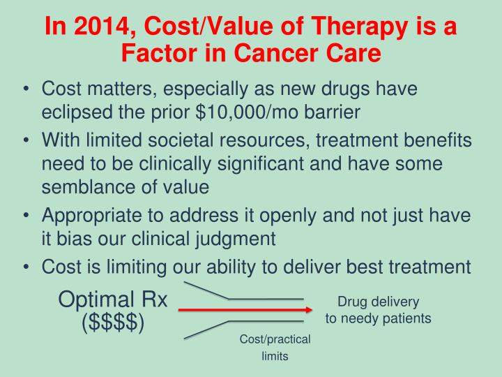 In 2014, Cost/Value of Therapy is a Factor in Cancer Care