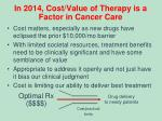 in 2014 cost value of therapy is a factor in cancer care
