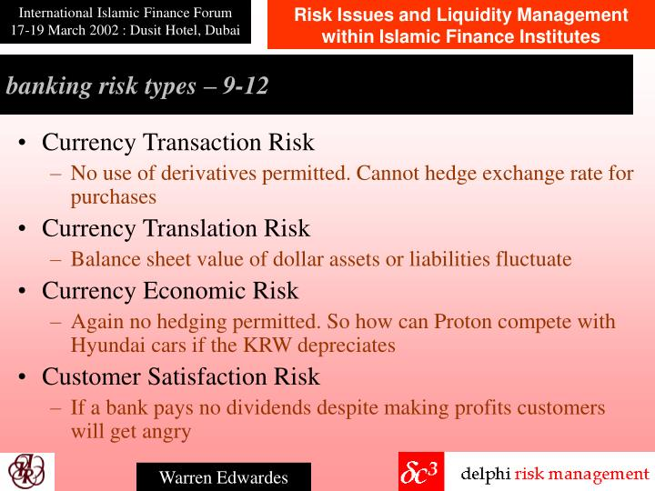 banking risk types –