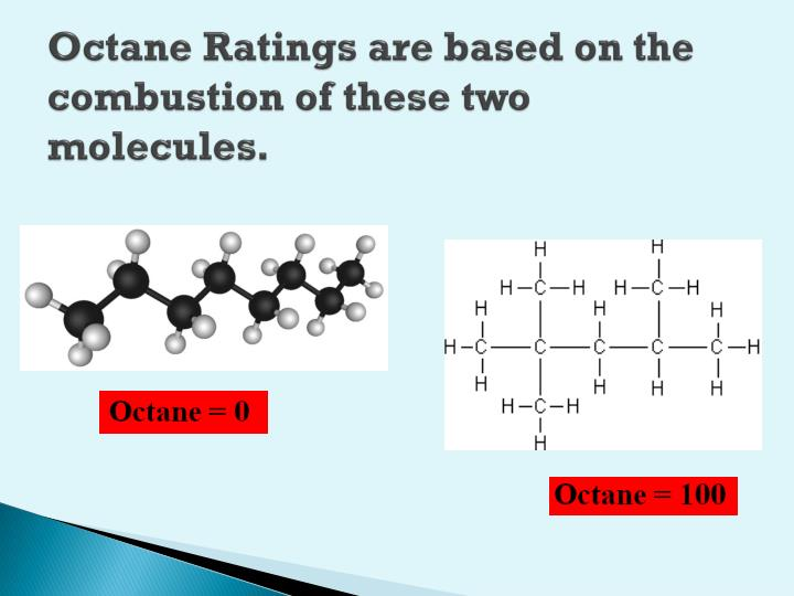 Octane Ratings are based on the combustion of these two molecules.