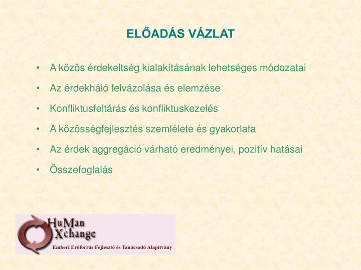 ELŐADÁS VÁZLAT