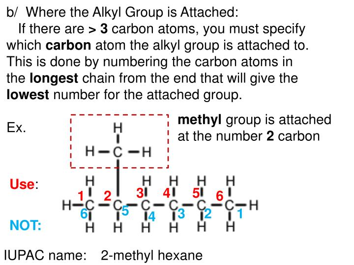 b/  Where the Alkyl Group is Attached: