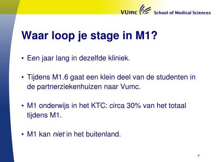 Waar loop je stage in M1?