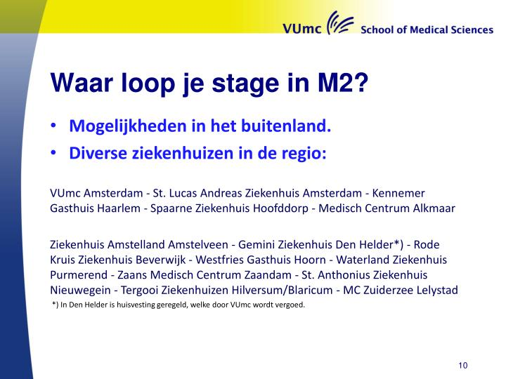 Waar loop je stage in M2?