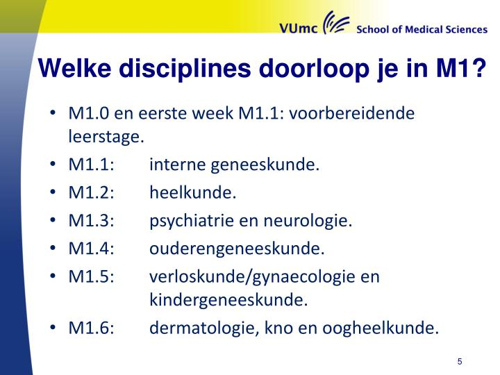Welke disciplines doorloop je in M1?