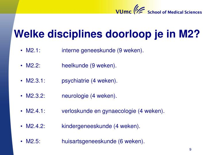 Welke disciplines doorloop je in M2?