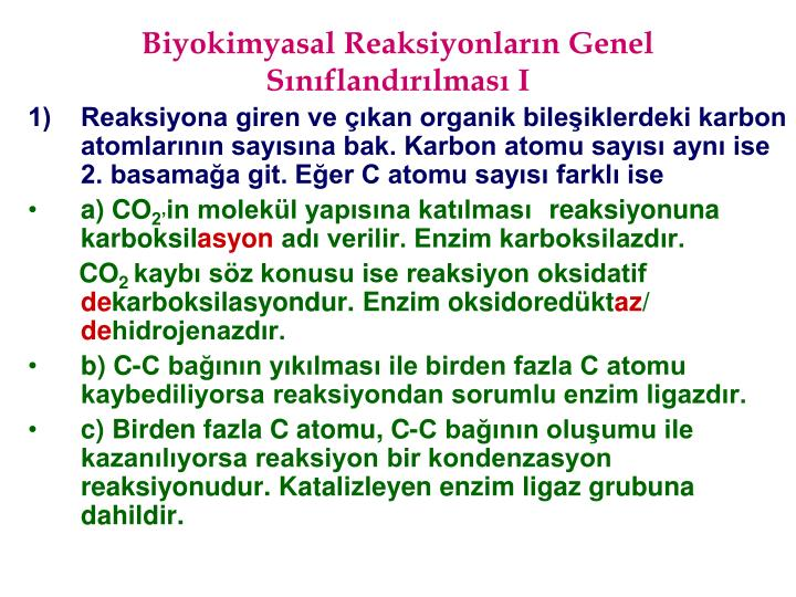 Biyokimyasal Reaksiyonların Genel Sınıflandırılması I