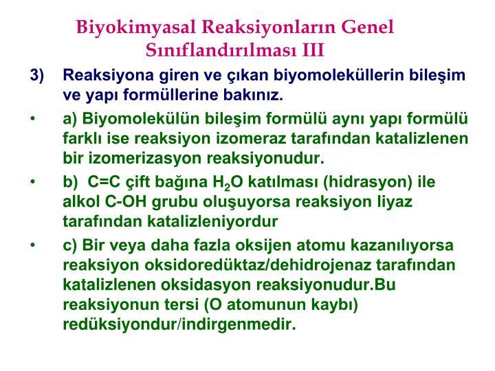 Biyokimyasal Reaksiyonlarn Genel Snflandrlmas III