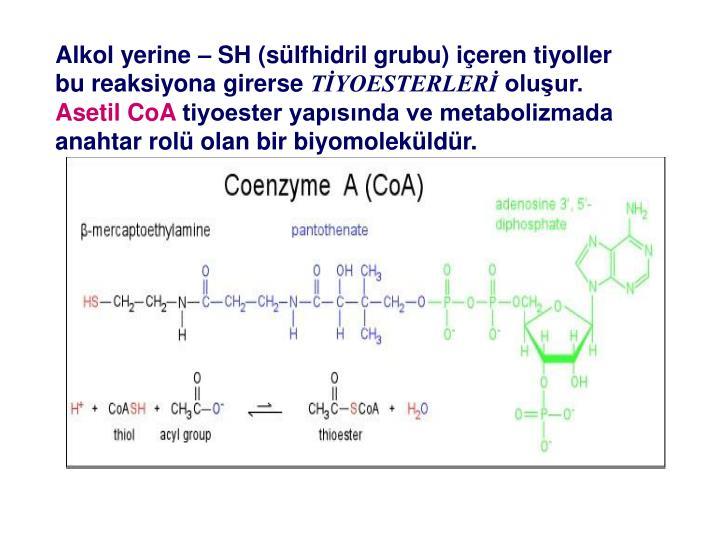 Alkol yerine  SH (slfhidril grubu) ieren tiyoller bu reaksiyona girerse