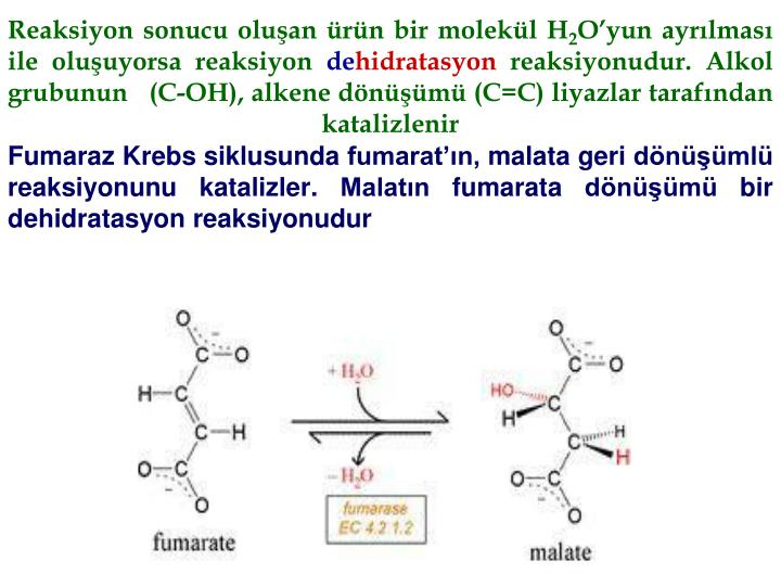 Reaksiyon sonucu oluan rn bir molekl H