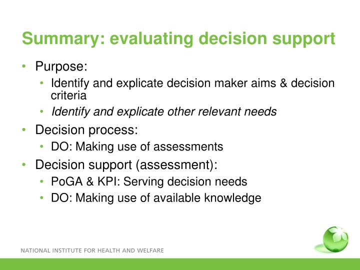 Summary: evaluating decision support