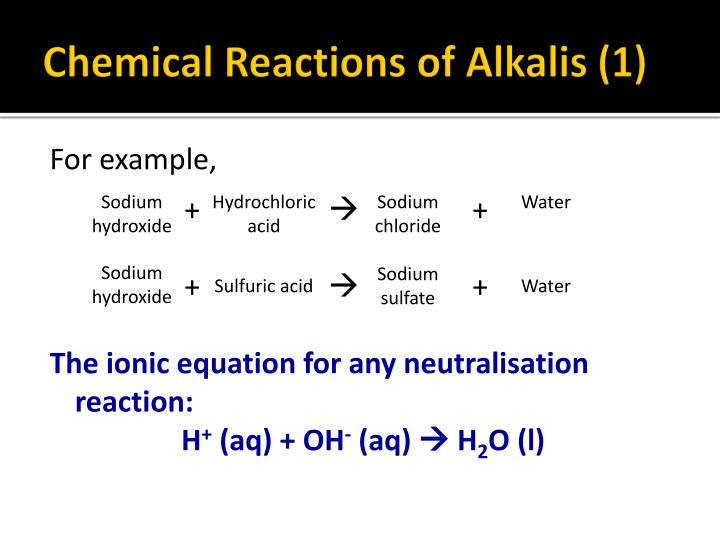 Chemical Reactions of Alkalis (1)