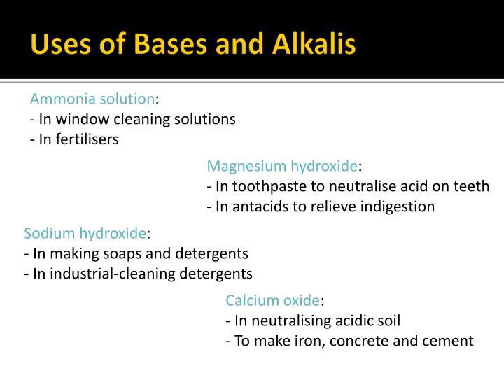 Uses of Bases and Alkalis