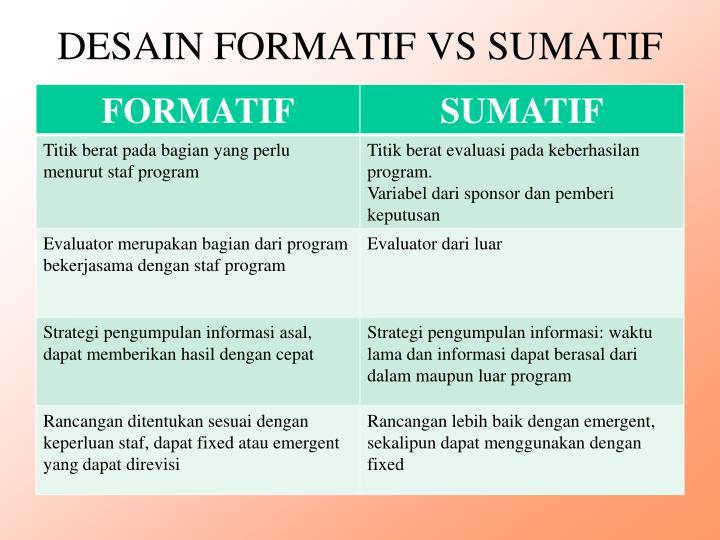 DESAIN FORMATIF VS SUMATIF