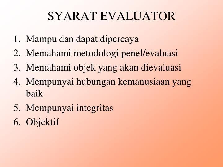 SYARAT EVALUATOR