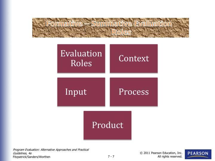 Formative – Summative Evaluation Roles