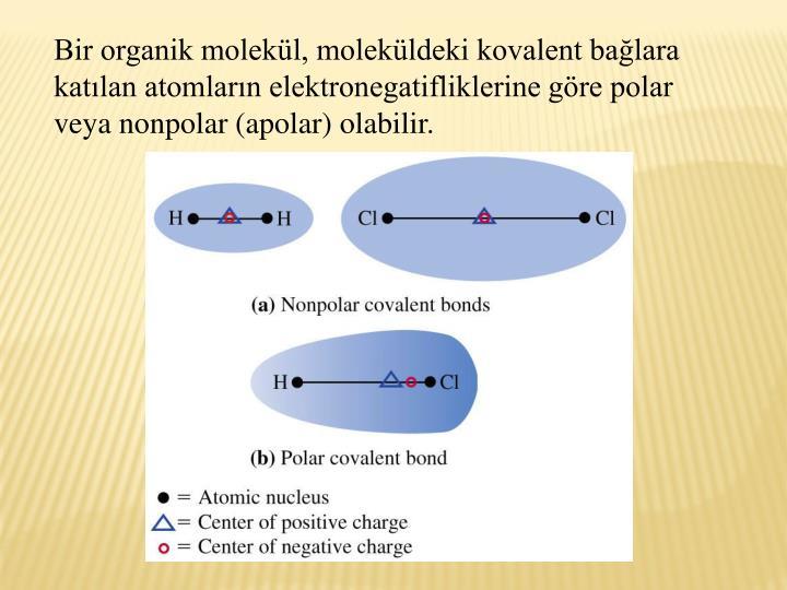 Bir organik molekl, molekldeki kovalent balara katlan atomlarn elektronegatifliklerine gre polar veya nonpolar (apolar) olabilir.