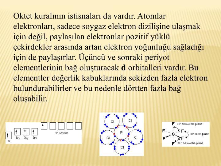Oktet kuralnn istisnalar da vardr. Atomlar elektronlar, sadece soygaz elektron diziliine ulamak iin deil, paylalan elektronlar pozitif ykl ekirdekler arasnda artan elektron younluu salad iin de paylarlar. nc ve sonraki periyot elementlerinin ba oluturacak