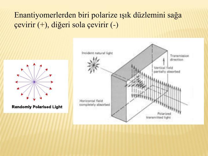 Enantiyomerlerden biri polarize k dzlemini saa evirir (+), dieri sola evirir (-)