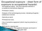 occupational exposure sheet form of exposure to occupational hazards