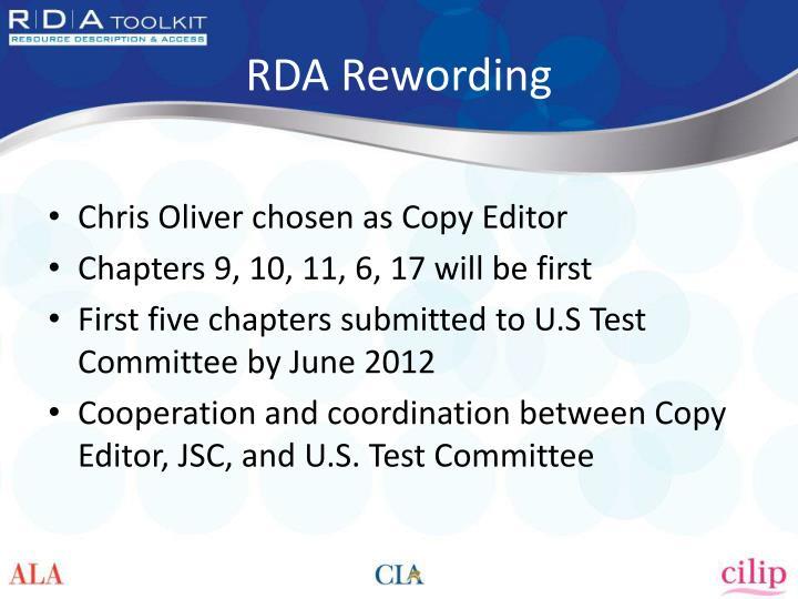 RDA Rewording