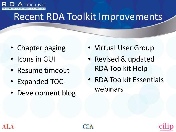 Recent RDA Toolkit Improvements
