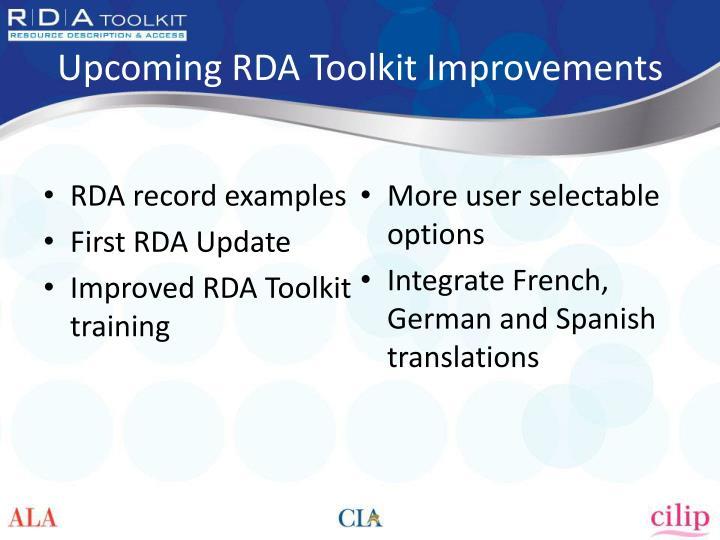 Upcoming RDA Toolkit Improvements