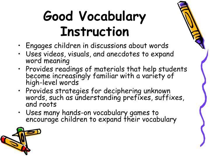 Good Vocabulary Instruction