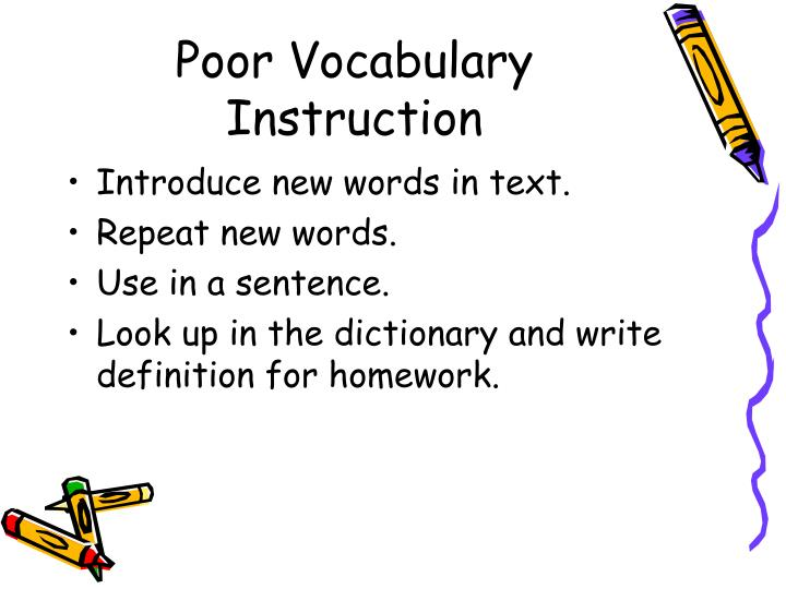 Poor Vocabulary Instruction