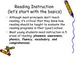 reading instruction let s start with the basics