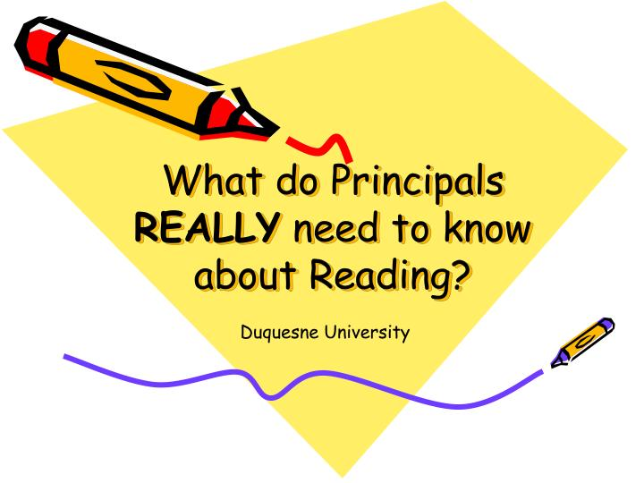 what do principals really need to know about reading