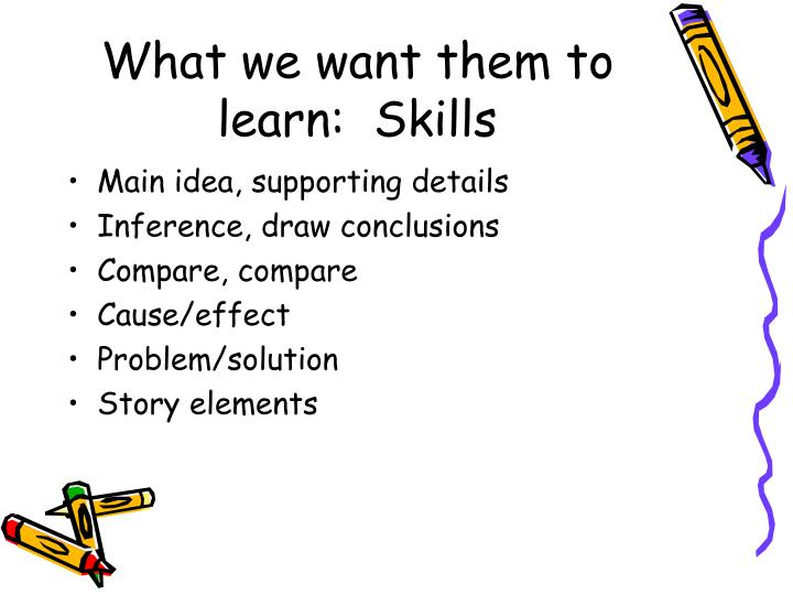 What we want them to learn:  Skills