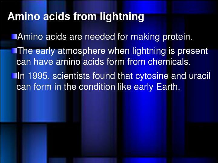 Amino acids from lightning
