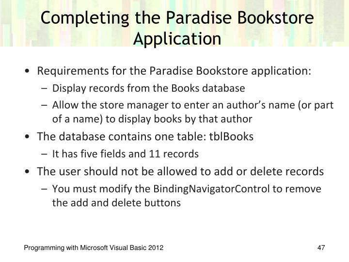 Requirements for the Paradise Bookstore application: