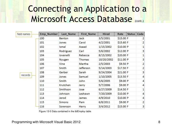 Connecting an Application to a Microsoft Access