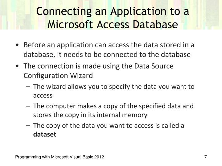 Connecting an Application to a Microsoft Access Database