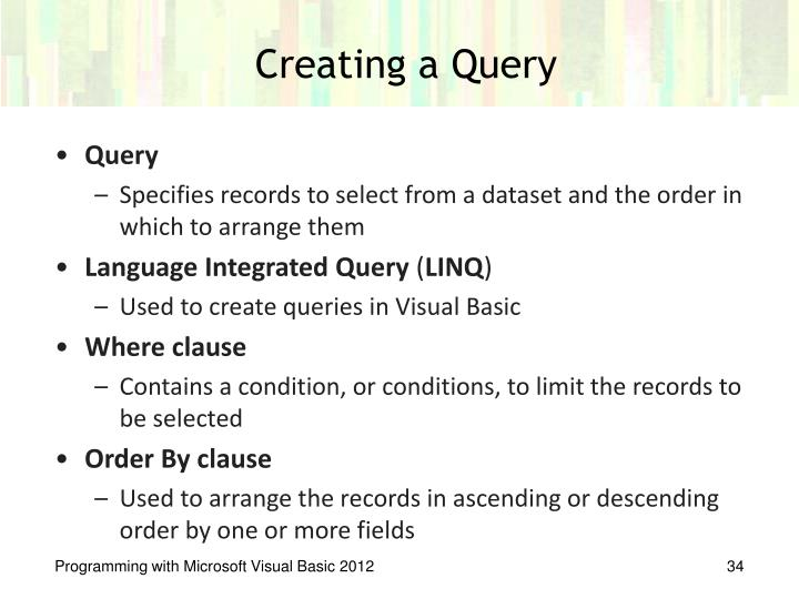 Creating a Query