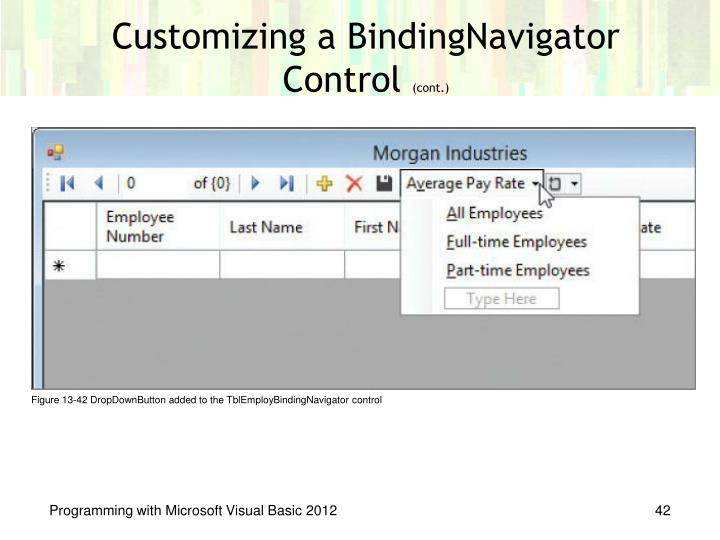 Customizing a BindingNavigator