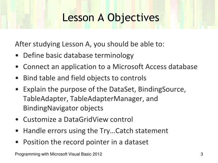 Lesson A Objectives