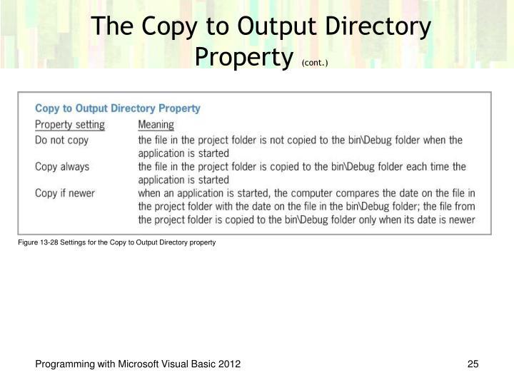 The Copy to Output Directory